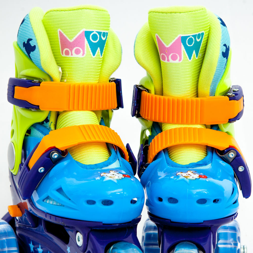 Ролики детские 26 размер, для обучения (трехколесные, раздвижной ботинок) MagicWheels зеленые, - фото 2